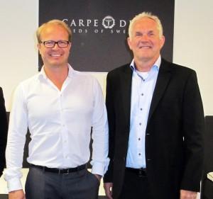 Jörgen Thuresson, Carpe Diem, och Björn Edwardzon, Hilding Anders är nöjda med affären.
