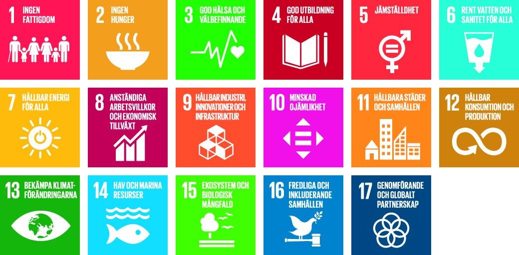 Agenda 2030, de 17 målen som ska de hjälpa till att uppfylla de övergripande målen: att avskaffa extremfattigdom, minska världens ojämlikheter och orättvisor, främja fred och rättvisa samt lösa klimatkrisen.