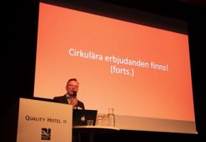 Lars Tööj, projektledare på RISE, talade om att företagen nu går vidare med cirkulär praktik i större skala.
