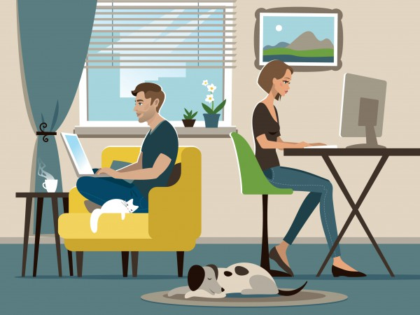 Arbeta hemma eller på kontoret. Cheferna och arbetstagarna har delade meningar om distansarbete